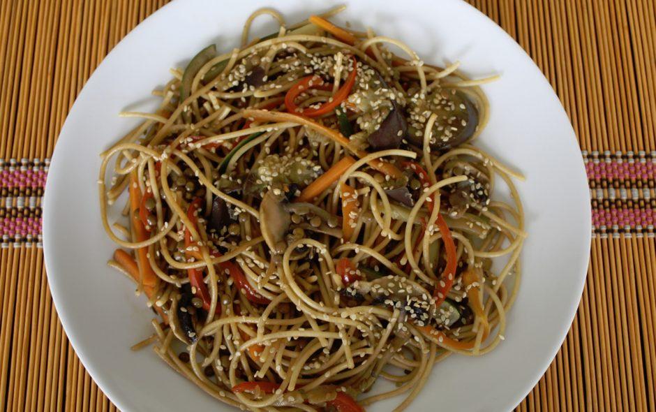 receta de spaguettis y verduras